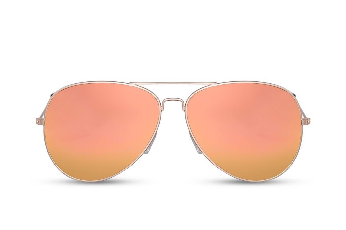Gouden Pilotenbril Met Oranje Spiegelglazen