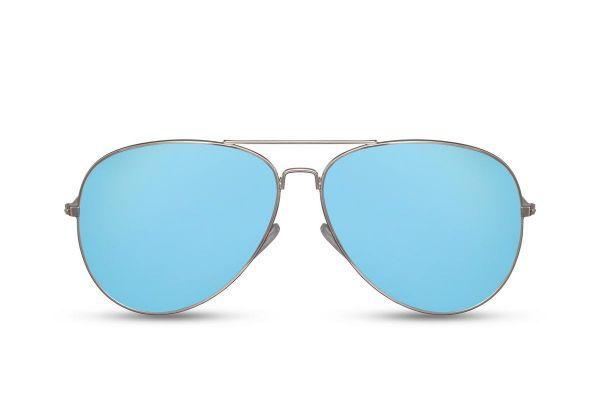 Zilveren Pilotenbril Met Blauwe Spiegelglazen