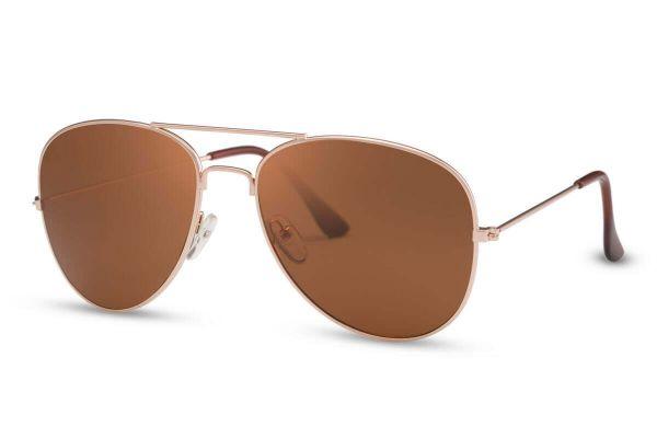 Gouden Pilotenbril Met Bruine Glazen